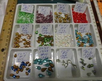 Choose your Pear Rhinestone  Vintage Glass Stones  VL 51