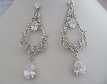 Bridal Jewelry Bride Rhinestone Earrings bridesmaids Rhinestone Earrings Bridal Accessories Cubic Zirconia Earrings