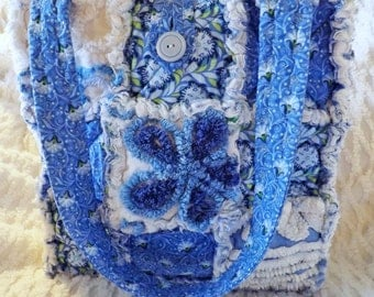 Rag Quilt Tote made with Vintage Chenille - Blue Floral - Flowers - Spring or Summer Tote - Blue Rag Tote - Blue Chenille Tote - Handmade