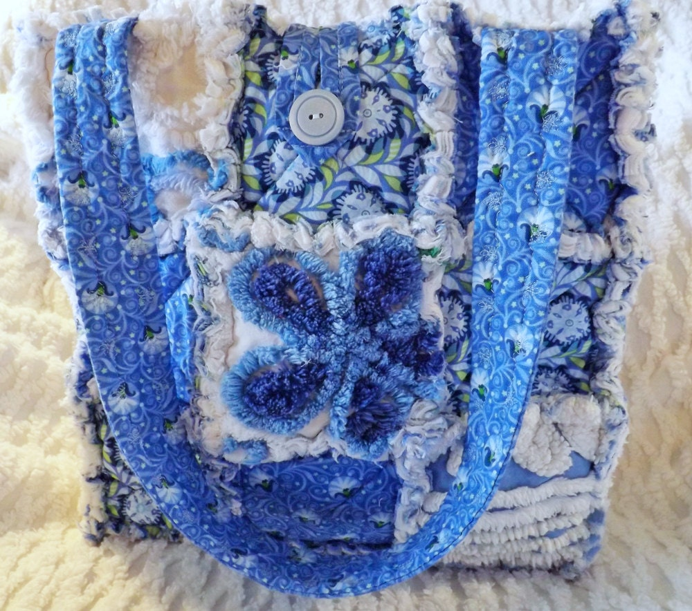 Rag Quilt Tote Made With Vintage Chenille Blue Floral