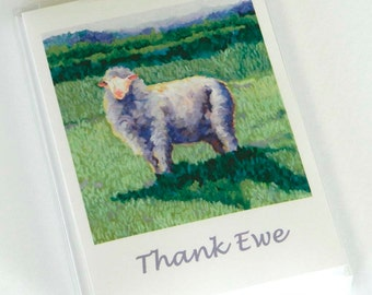 Summer Sheep Thank Ewe Cards - Box Set of 6 Thank you cards, sheep art, sheep card, sheep gifts, baby shower thank you, sheep thank you