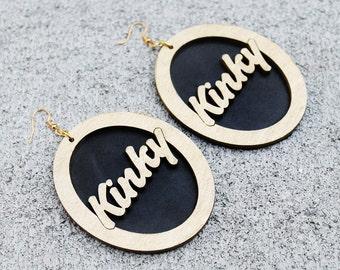 Natural Hair Earrings, Kinky Wood Earrings, Wood Earrings, Black Earrings, Big Wood Earrings, Kinky Natural Hair Wood Earrings
