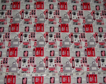 Barbeque BBQ Cookout Grill Kitchen Cooking Fabric - 2 yards