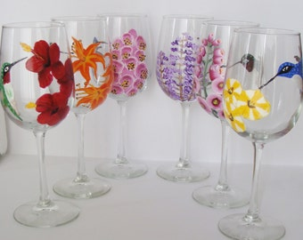 Hummingbirds Six Assorted Designs Wine Glasses Hand Painted