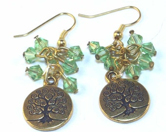 Green Earrings -  Tree of Life
