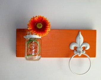 Wild Retro Funky Pumpkin  Orange Melon Wood Kitchen or Bathroom Wall Shelf  Towel Ring  fleur de lis
