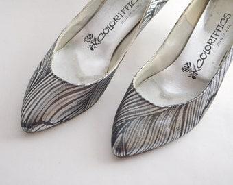 Black and Silver Metallic Tiger Stripe Heels 5 1/2 AA
