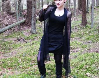 Black silk cardigan, Sheer mesh black cardigan, silk cardigan, longsleeve cardigan, summer wear, knit cardigan, handknit, all sizes MASQ