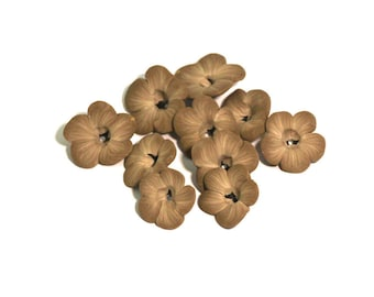 Polymer Clay Flower Beads, Latte Light Brown Wildflower 10 Pieces