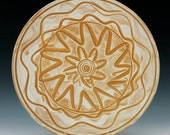 Wheel thrown stoneware platter with  slip decoration  Great for cooking or display