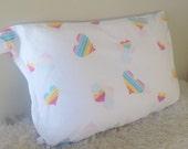 Vintage care bear hearts rainbow tein fitted sheet