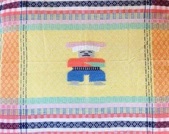Vintage cotton rug stripe man southwestern mexican peruvian floor pillow cover home decor throw