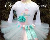 Baby Girl 1st Birthday Tutu - Aqua and Pink - Cupcake Birthday - Photo Prop