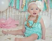 Baby Girl Lace Romper - Aqua Lace Romper - Baby Girl Photo Prop - Cake Smash