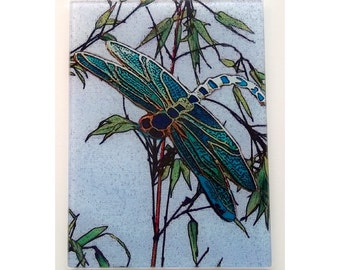 Dragonfly glass cutting board,dragonfly and bamboo art, Dragonfly and Bamboo glass, glass Dragonfly, Dragonfly trivet, Dragonfly  glass art,