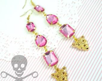 CHEETAH BLING EARRINGS - Pink and Gold Charm Gem Dangle