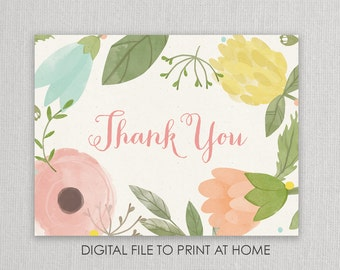 Floral Thank You Notes - Digital File to Print at Home - floral watercolor