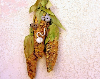 Corn with Soft Sculpture Mice Inside ,Paper Mache Sculpture