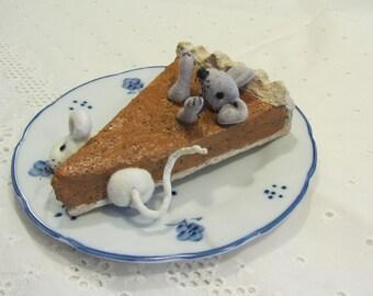 Paper Mache Pumpkin Pie Slice and Soft Sculpture Mice