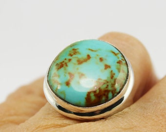 Turquoise freeform almost round ring