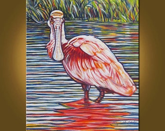 Art Painting Canvas Painting -- Beautiful Spoonbill -- 20 x 24 inch Original Oil Painting by Elizabeth Graf on Etsy