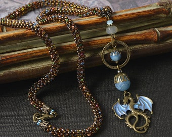 Land of Dragons Beadwoven necklace - Blue Dragon