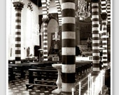 """Black and White Photography - Italian church crystal chandelier geometric pattern bold stripes architecture photo candles """"Striped Church"""""""