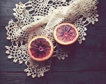 "Rustic kitchen decor - fruit still life - culinary photography - food art print  ""Blood Orange"""