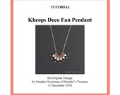 Beading Tutorial, Kheops Deco Fan Pendant. Beading Pattern with Kheops par Puca Triangle Beads and Crystals. Beadweaving Instructions Schema