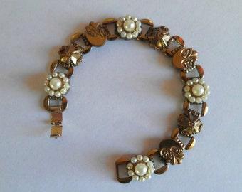 Vintage Bracelet Art Nouveau Etruscan Style Pearls Raised Links