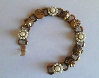 Vintage Bracelet Art Nouveau Etruscan Style Pearls Jewelry So Detailed!!