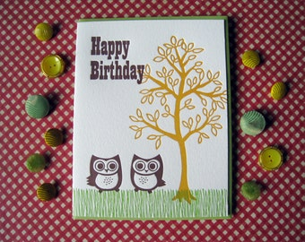 Letterpress Card - owl birthday