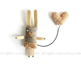 Plush Bunny Brooch, Cute Animal Jewelry, Heart, Animal Brooch