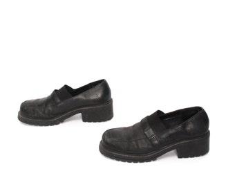 size 10 ESPRIT black leather 80s 90s PLATFORM GRUNGE loafers high heel boots