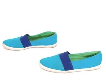 size 10 LIZ CLAIBORNE blue canvas 80s 90s COLORBLOCK slip on sneakers sandals flats