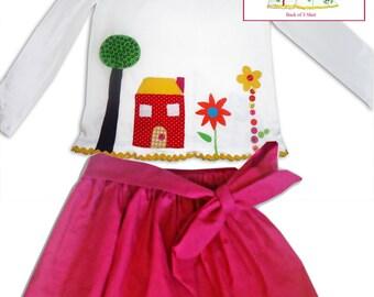 Girl's Garden Skirt and  T-shirt Outfit / Children's Clothes / Babies Top / Tee Shirt