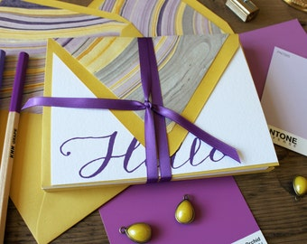 HELLO marble lined envelopes boxed sets of notes -  (10) flat notes / Valentine's Day Gift