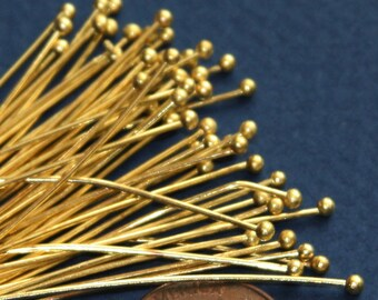 24 gauge Gold plated  Ball end head pin  24 gauge with 2mm ball  - 2 inch long