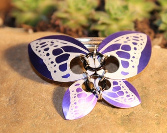 Faerie Butterfly - Etched Purple - Pin or Hair Clip