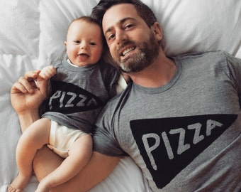 SALE Fathers Day Gift : Father Child Pizza Tshirts, gift for him, new dad baby matching shirts, father son matching, dad gift from kids