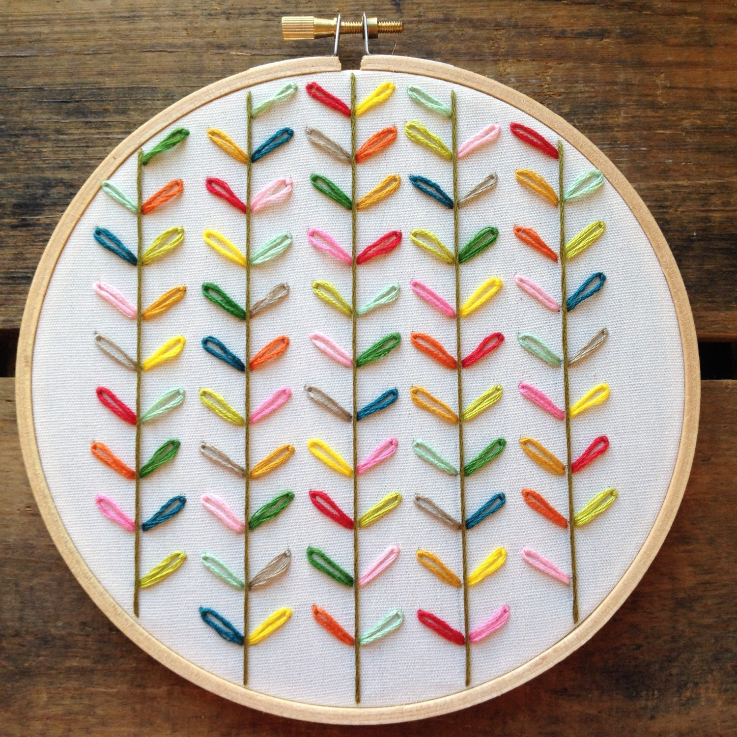 Orla kiely inspired embroidery hoop by bugandbeanstitching