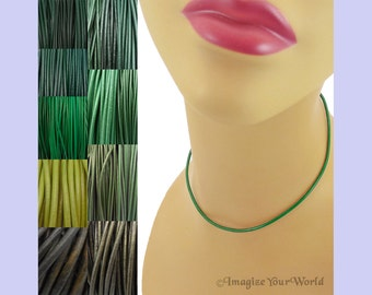 Custom Green LEATHER Cord Necklace up to 24 inches long - choose shade, diameter, length, clasp color - 1.5 mm,  2 mm or 3 mm