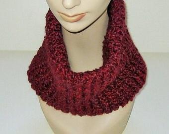 Cowl Scarf Dark Red Hand Crocheted