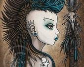 Tribal Warrior Mohawk Wolf Tattoo Shapeshifter Tala Fantasy 4X6 PRINT