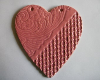 large embossed miami pink ceramic heart