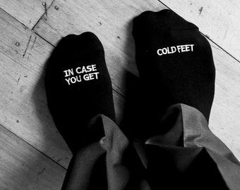 Embroidered Grooms Socks 'in case you get cold feet' best wedding gift wedding idea grooms gift weddings wedding