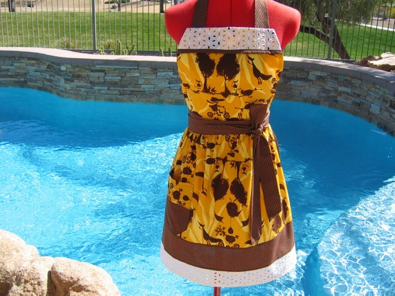 SALE - Fall Apron, Sassy Womens Aprons,Kitchen Apron, Tina Givens Magical Forrest