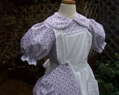 Pioneer Dress,Pinafore, and Bonnet ..Laura Ingalls  ..Trimmed in lace... Made to  ONLY..Please read lead time inside ad.