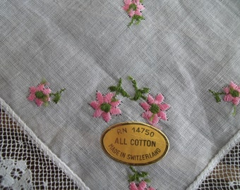 Vintage Swiss Cotton Lace Handkerchief with Embroidered Flowers