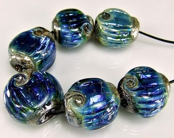 Glass Lampwork Beads Silver Blue Ripple Lampwork Bead Set